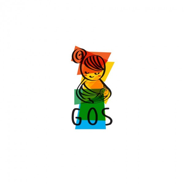 colorful mom holding baby logo