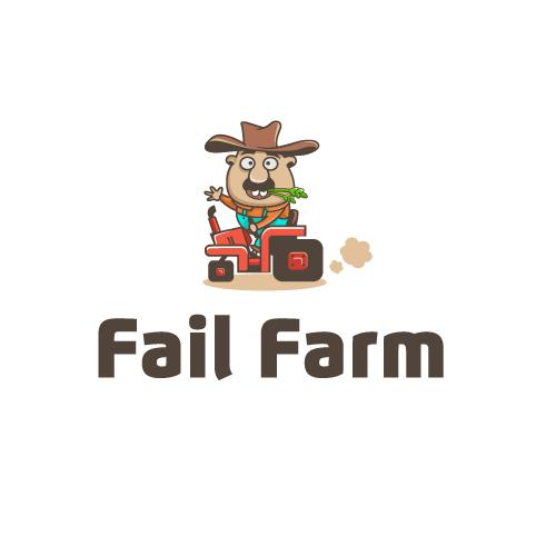 """cartoon farmer sitting on a tractor with the text """"fail farm"""""""