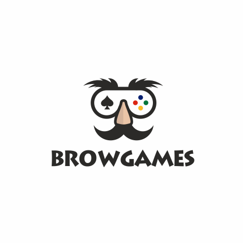 """video game controlled fashioned like a mash with a large nose and eyebrows with the text """"browgames"""""""