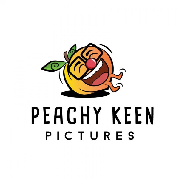 """peach with glasses and a face laughing hysterically with the text """"peachy keen pictures"""""""