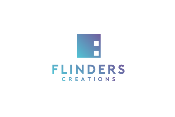 """blue and purple gradient square with the text """"flinders creations"""""""
