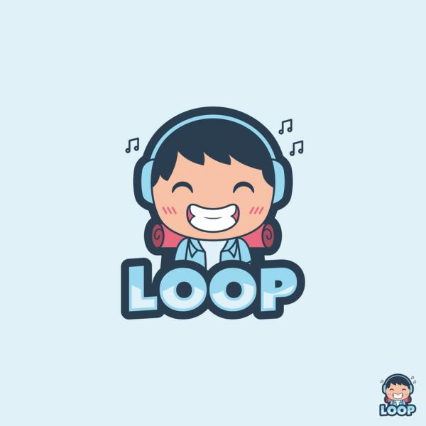 cartoon character with headphones logo