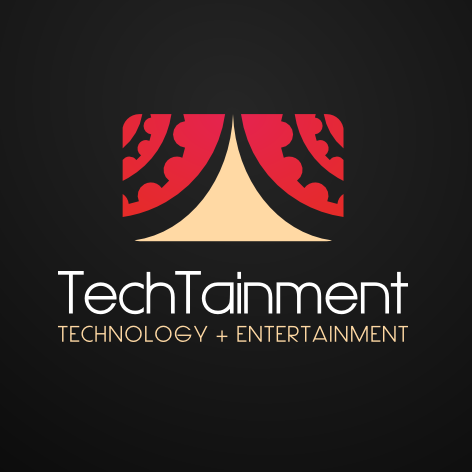 """stylized image of a stage with red curtains and the text """"TechTainment technology + entertainment"""""""