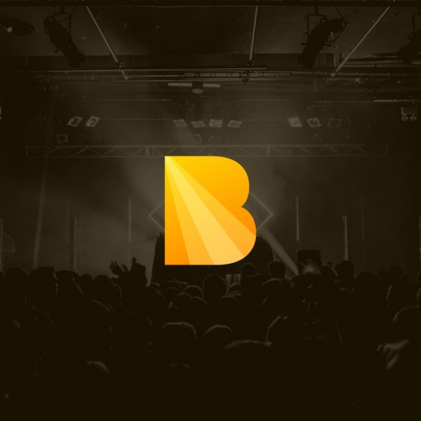 Yellow letter B with a diagonal gradient