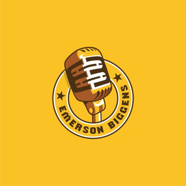 """Yellow logo featuring a microphone and the text """"emerson biggens"""""""
