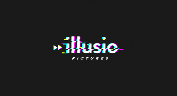 """glitch-style image of the words """"illusio pictures"""""""