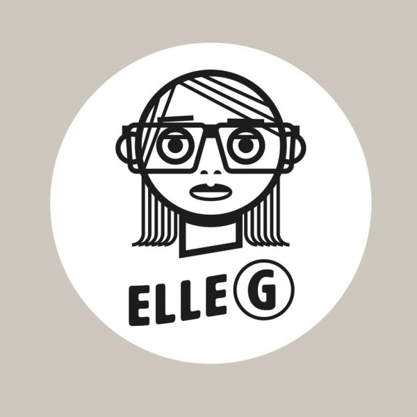 """line drawing of a woman wearing glasses and the text """"elle G"""""""