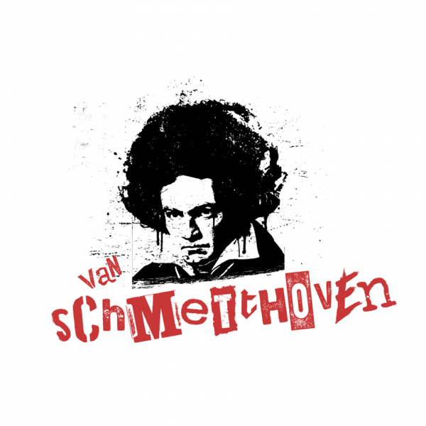 """stencil art-style image of Beethoven with an afro and the text """"van schmetthoven"""""""