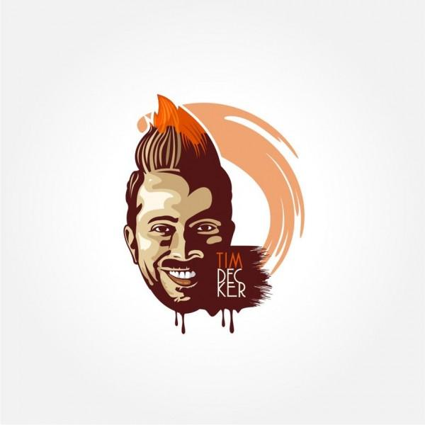 Mohawk man coffee cup illustration