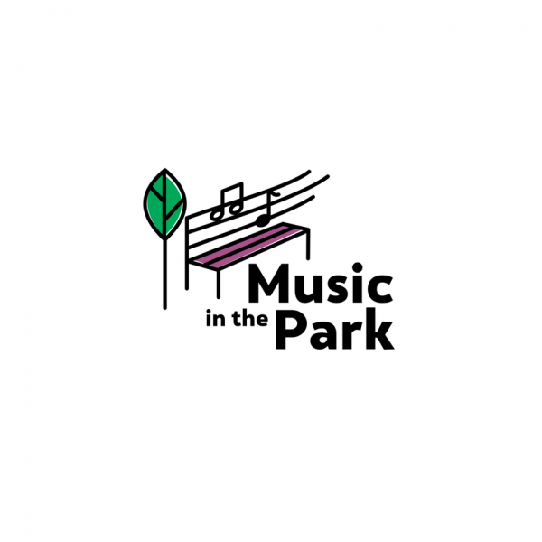 """line drawing of a park bench with a tree beside it and music notes on the bench with the text """"music in the park"""""""