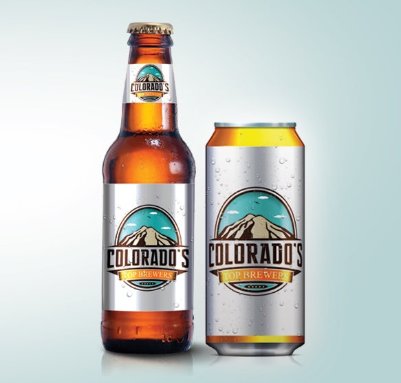 beer logo for colorado brewery with mountain illustration