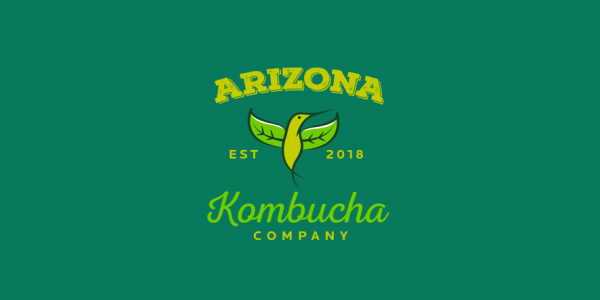 kombucha logo with green hummingbird