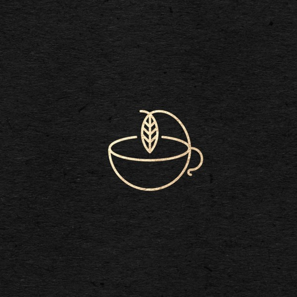 tea leaf in cup minimal logo