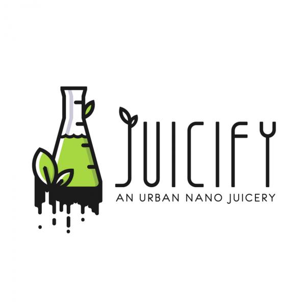modern, line art juice logo design with beaker and leaves