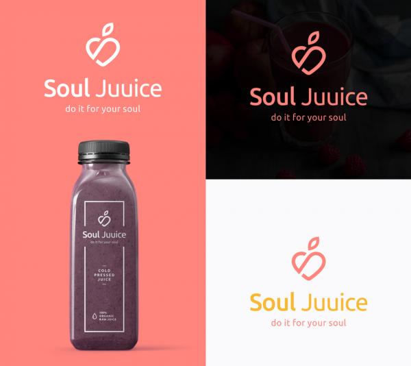 simple line art minimalist logo design for juice brand