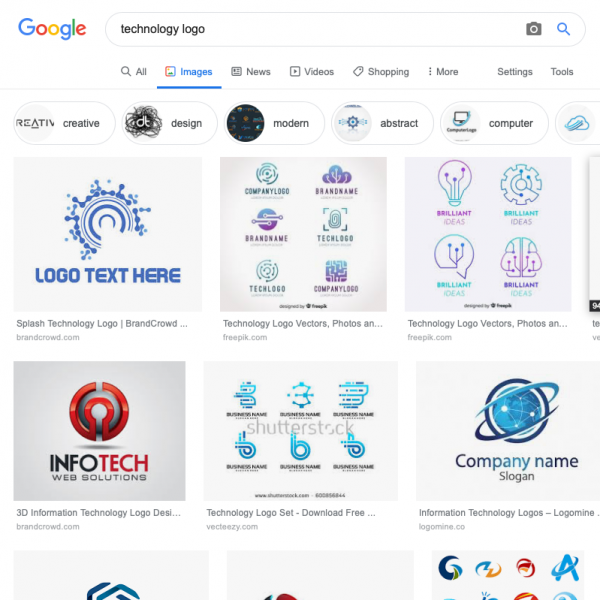 A screenshot of a google image search for a tech logo