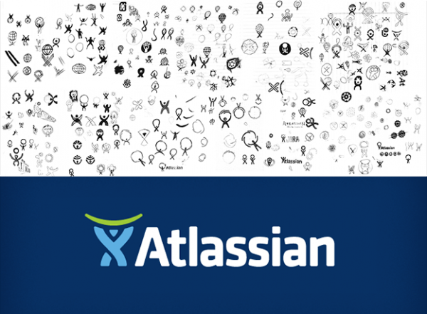 Atlassian's logo design process sketches