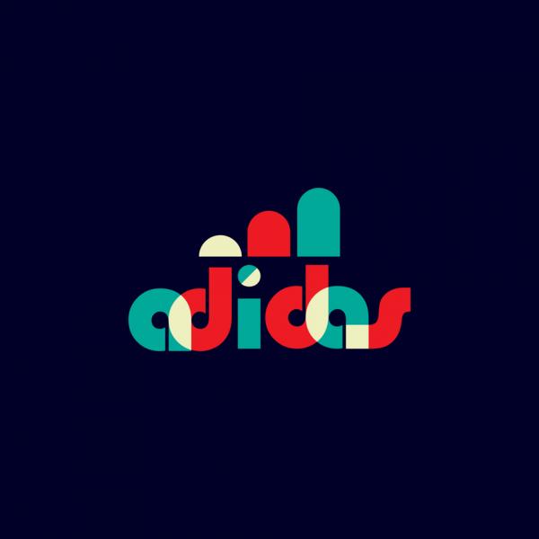 Adidas logo in Bauhaus design style