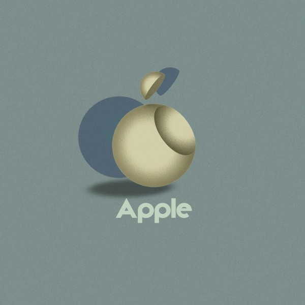 Apple logo in Bauhaus design style