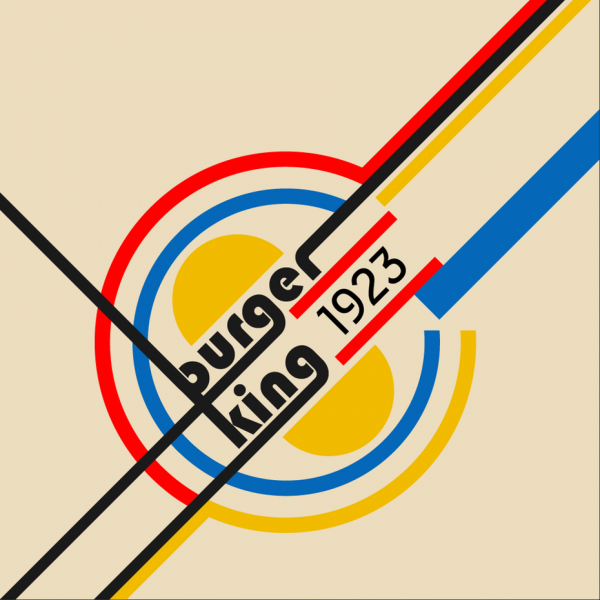 Burger King logo in Bauhaus design style