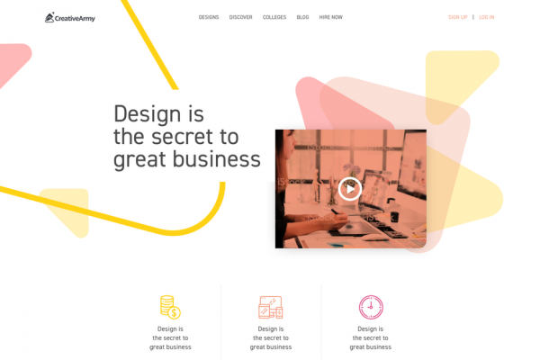 Web page with Bauhaus design for CreativeArmy