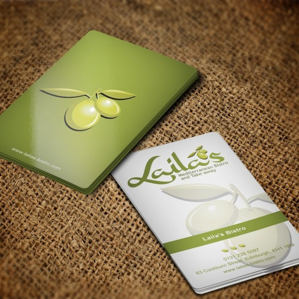 Business card in olive tones