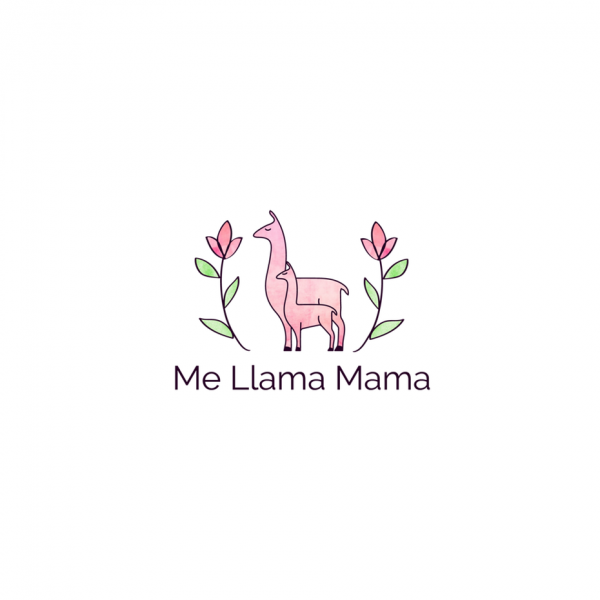 Two pink llamas, one large and one small, with the text