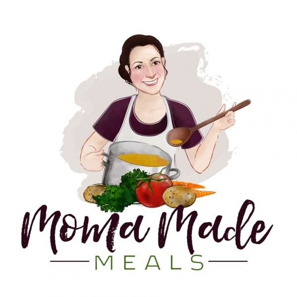 Woman serving a ladle of vegetable soup