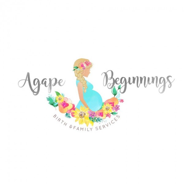 "multicolored side profile of a pregnant woman with the text ""Agape Beginnings"""
