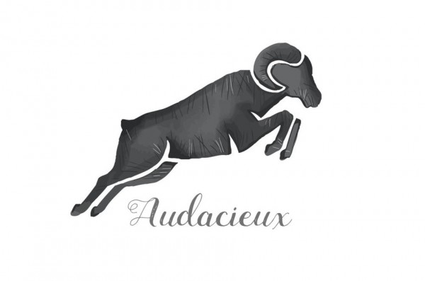 "black silhouette of a jumping ram with the text ""Audacieux"""