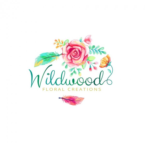 "the words ""Wildwood floral creations"" with a colorful pink and green flower"