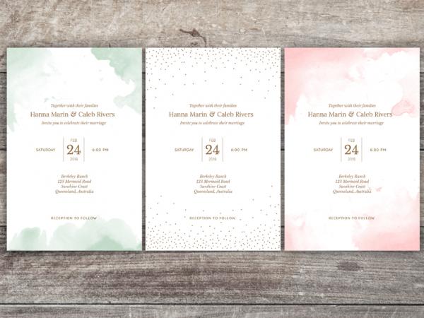 A watercolor wedding invitation