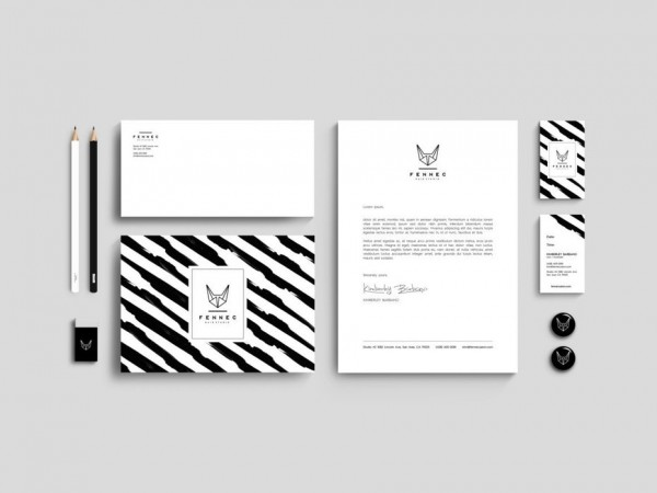 A black and white stationery design