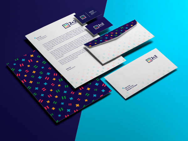 A colorful, patterned stationery design