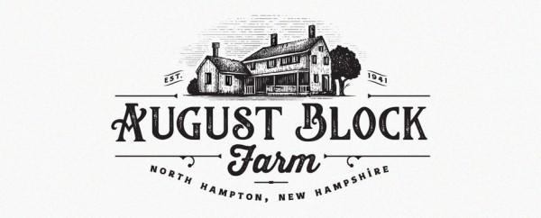 farmhouse and trees on an emblem