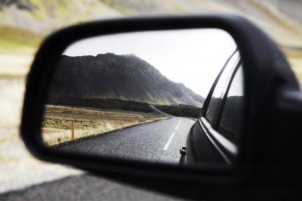 a car's rear view mirror