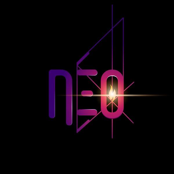 "rhombus shape behind the word ""Neo"""