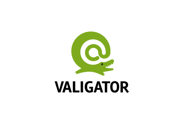 logo  with cute illustrated alligator smiling