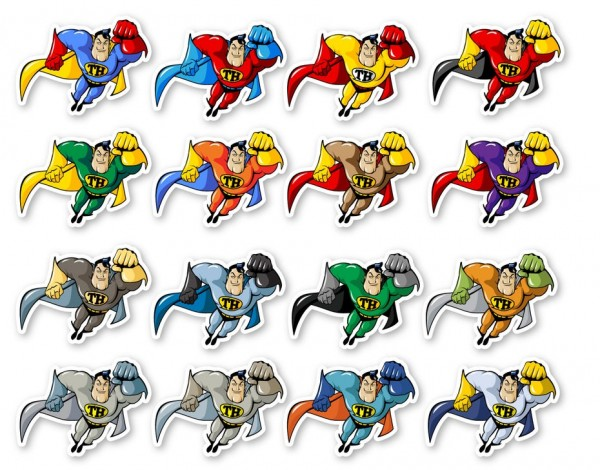 A set of super hero stickers in various costumes