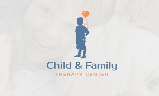 logo  with child holding heart-shaped balloon