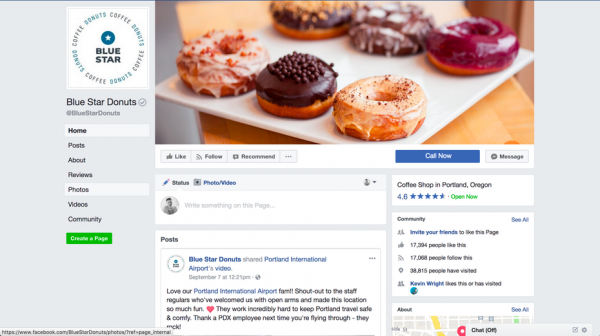 Blue Star Donuts Facebook page