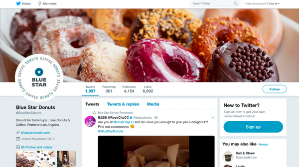 Blue Star Donuts Twitter profile