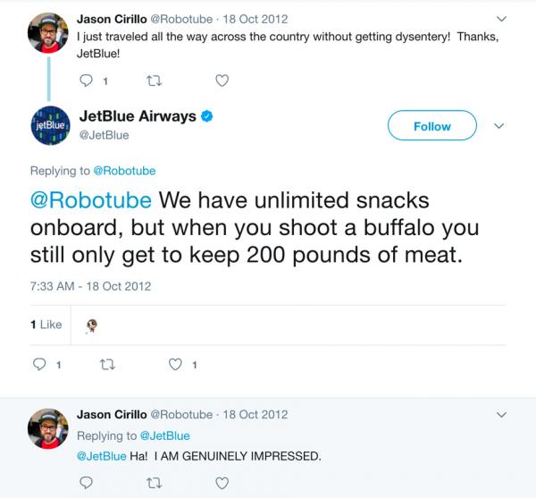 JetBlue customer response tweet
