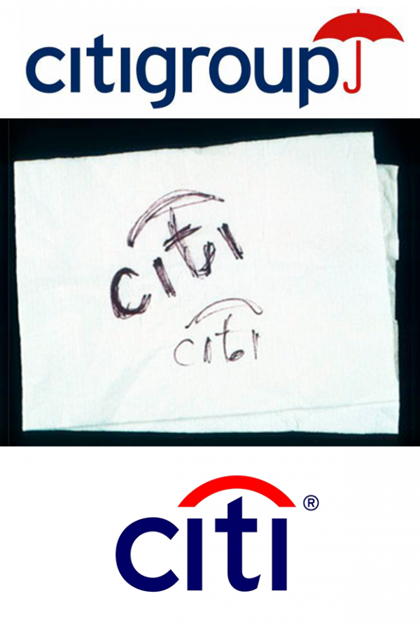 Citibank logo process sketch