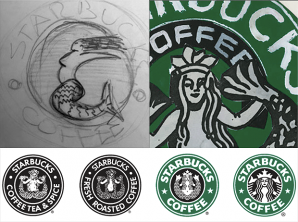 Starbucks logo process sketch