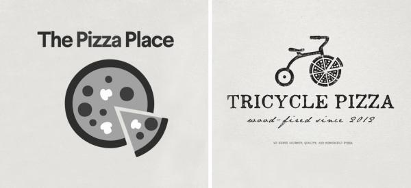 generic pizza  logo  vs unique pizza  logo