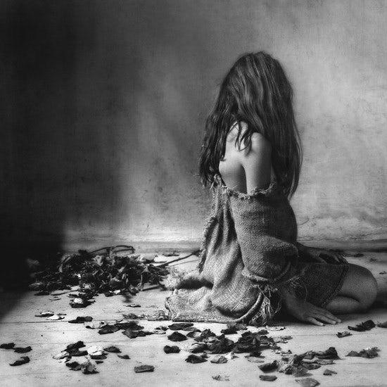 black and white sad woman photo
