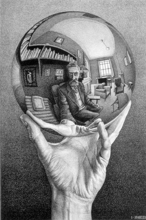 Escher Hand with Reflecting Sphere