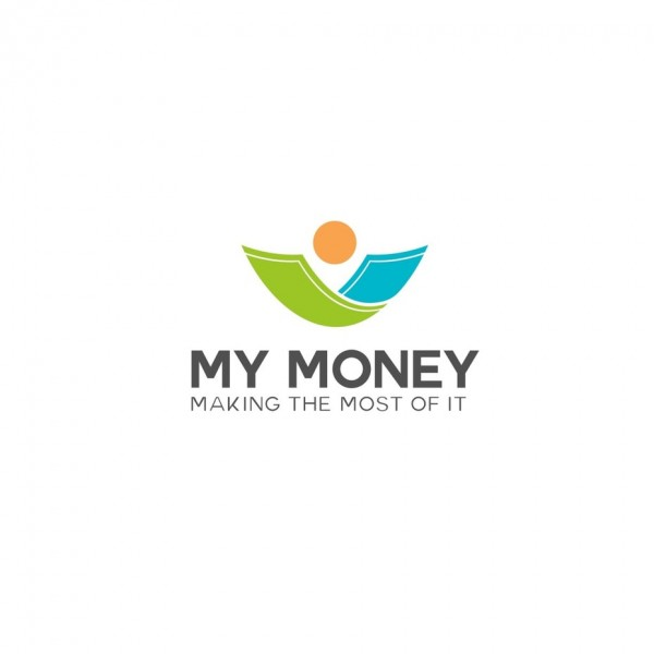 simple flat color money logo design