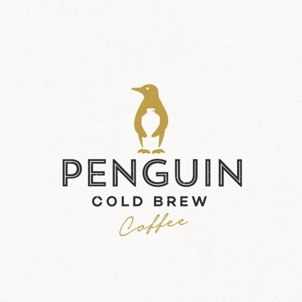penguin holding bottle coffee logo design